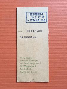 Das erste Honorar für einen journalistischen Artikel von 16 DM bekam Müller-Bringmann 1972. Den Empfangsabschnitt des Geldbriefträgers - so was gab es damals noch - hat MüBri immer noch.